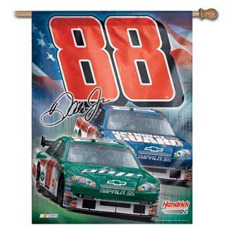 88 Dale Earnhardt Jr Amp / National Guard Vertical Flag by DK HUSKY RACING. $19.99. This brand new 2008 Dale Jr vertical flag is made in the USA. The vertical flags have a sleeve at the top to slide the flag onto a flag pole.   Both of the #88 Dale Jr cars are prominent on this vertical flag. The Amp Impala SS is in the front and the National Guard Impala SS in behind. The Hendrick logo, NASCAR logo, and the #88 are also featured.   The hardware is not included...
