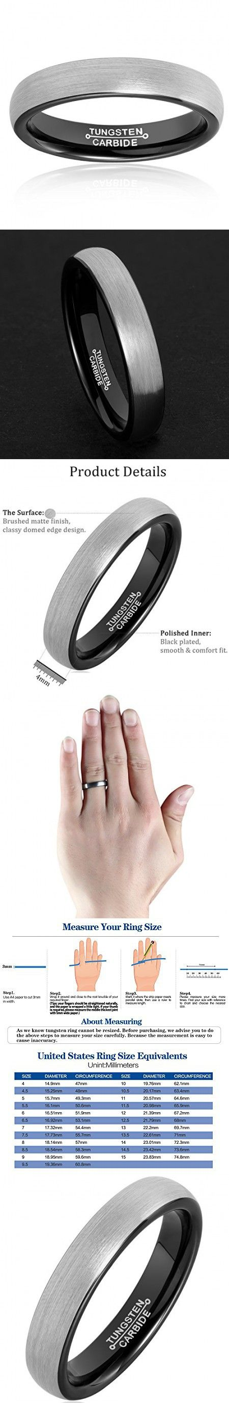 MNH Tungsten Carbide Men Ring 4mm Black Plated Wedding Band Engagement Comfort Fit Matte Finish