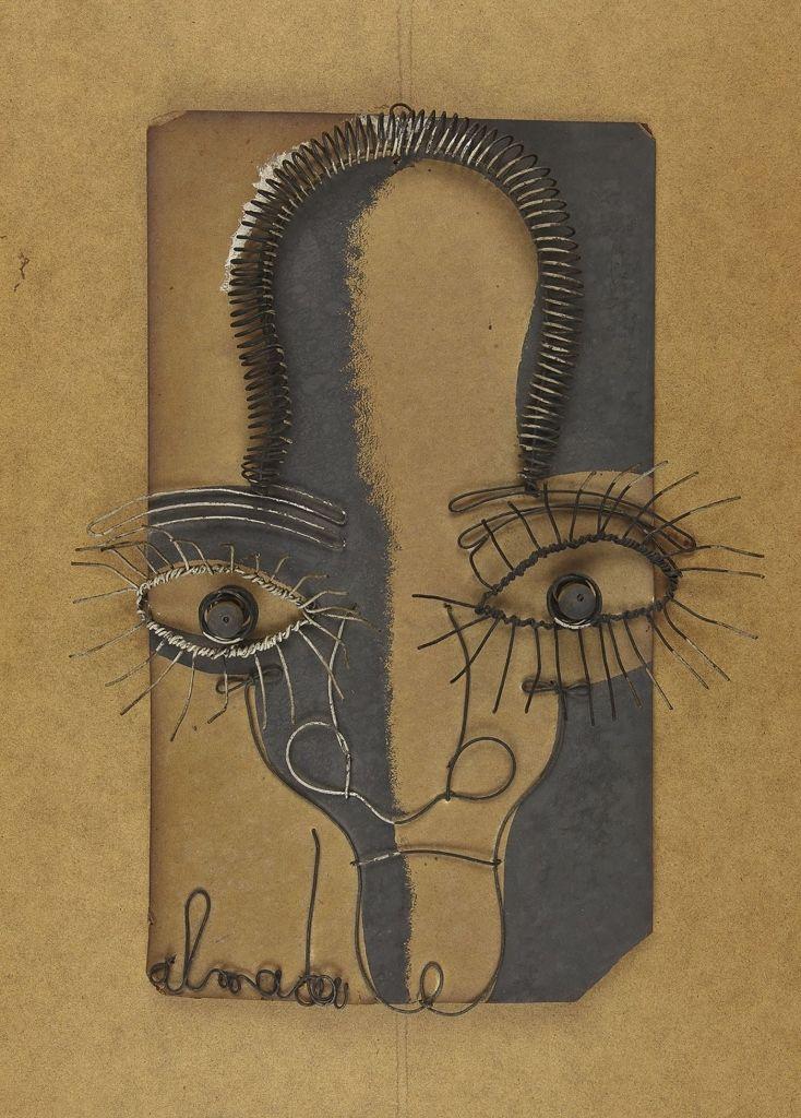 FB / José de Almada Negreiros (1893-1970) [Autorretrato], [1940], arame e gauche sobre madeira, 36 x 30 cm. Coleção particular