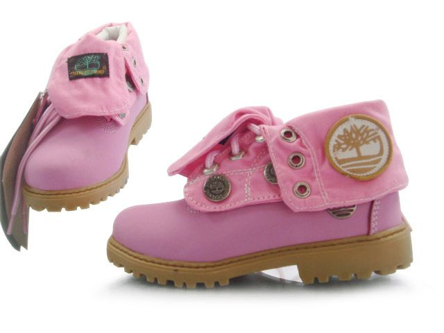 pink roll top boots timberland for kids