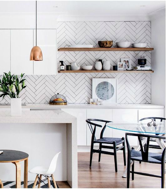 Scandinavian influenced kitchen - natural elements, copper accents, open shelving, airy feeling
