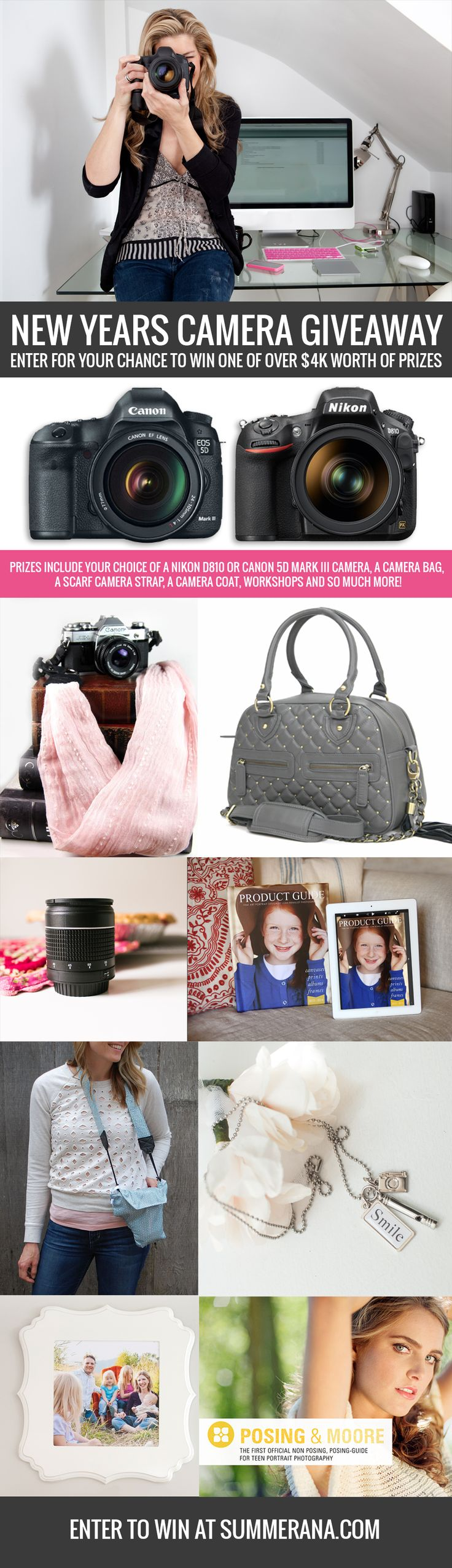 GIVEAWAY: Enter the Summerana - Photoshop Actions for Photographers New Years Camera Giveaway!   We are so excited to offer you a chance to win over $4K in photography prizes, including your choice of a Nikon D810 or Canon 5D Mark III Camera, a camera bag, a scarf camera strap, a camera coat, and so much more.  Start your New Years with a BANG here: http://summerana.com/summerana-photoshop-actions-for-photographers-new-years-camera-giveaway/