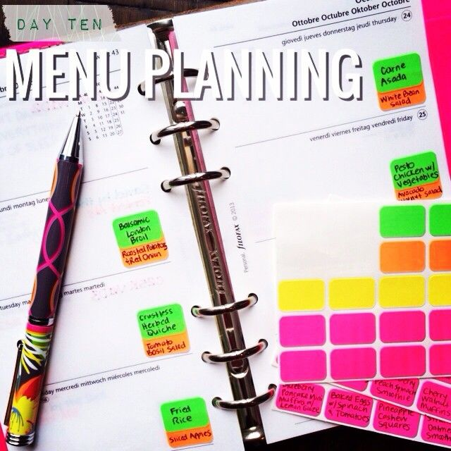 Menu planning in your agenda or day planner