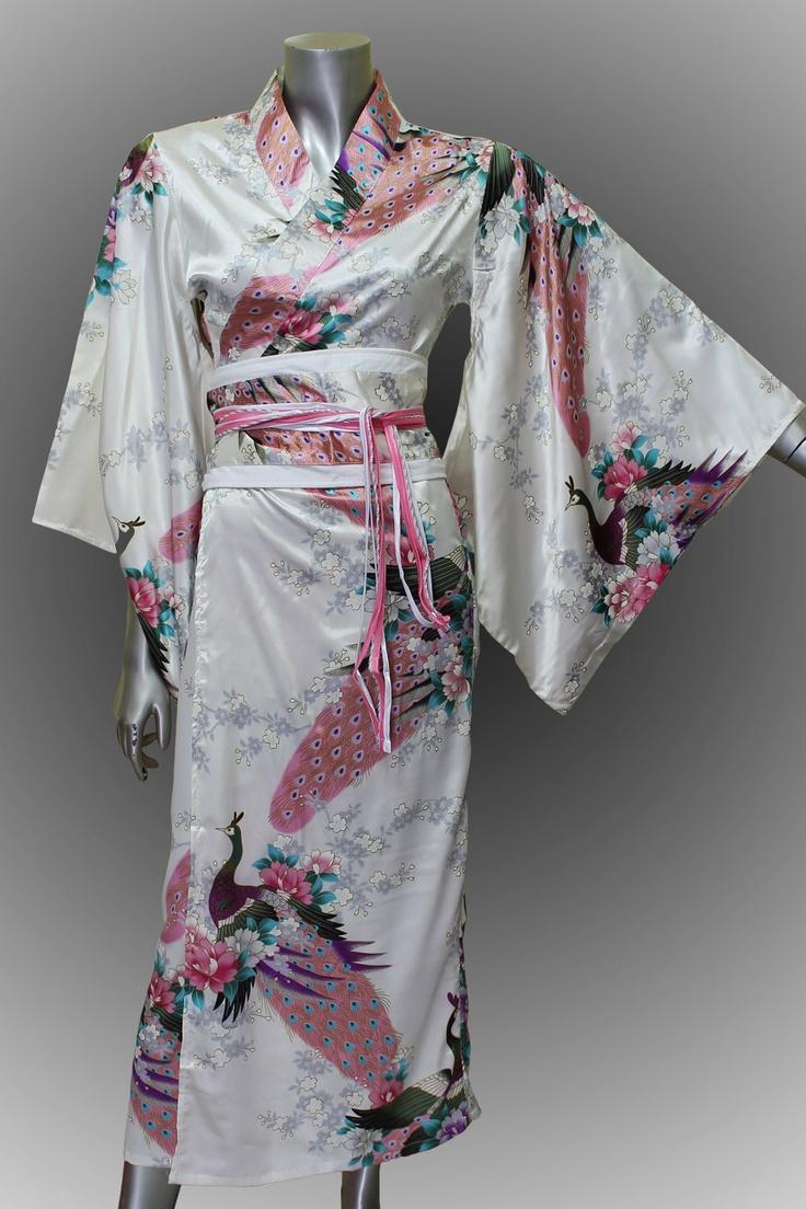 Bridesmaid Silk Robes White Painting Peacock Design Gown Robe Kimono  ( F1) thaichill easy £24.03