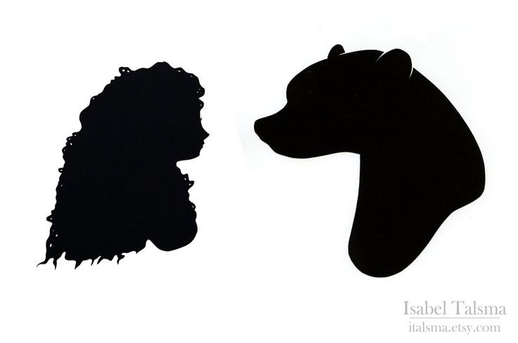 Brave Handcut Silhouette Set Variant -- Merida and the Bear.