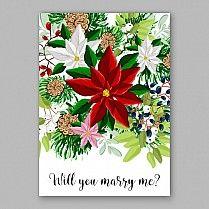 Поинсеттиа приглашение на свадьбу карта красивый зимний цветочный орнамент рождественской вечеринки пригласите венок пуансеттия, сосновые ветви ель, игла, дикий бирючины ягодный, букет Девичник акварельные