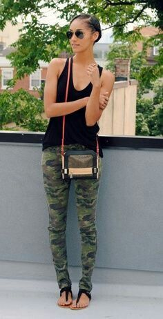 Camo leggings and black top. Spice it up with a pair of black heels.