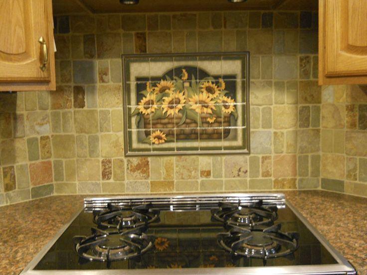 Decorative tile backsplash kitchen tile ideas for Sunflower kitchen ideas