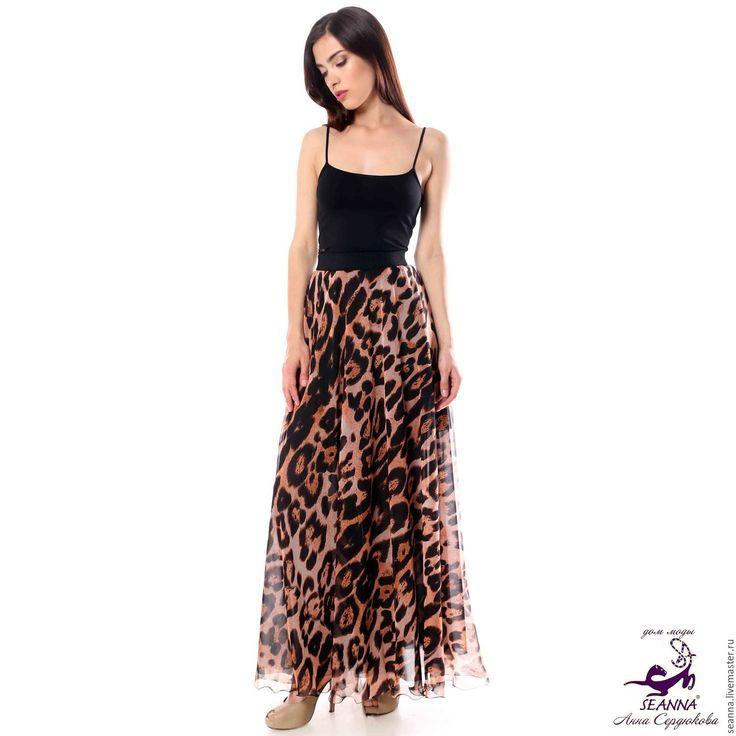 Купить Роскошная юбка Струящийся Шифон Камышовый Кот на подкладке - юбка, длинная юбка