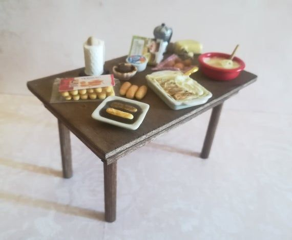 Miniature Kitchen Table For Dollhouse With Tiramisu Recipe Fake Food In Polymer Clay Miniature 1 12 Scale Fake Food Miniature Kitchen Food