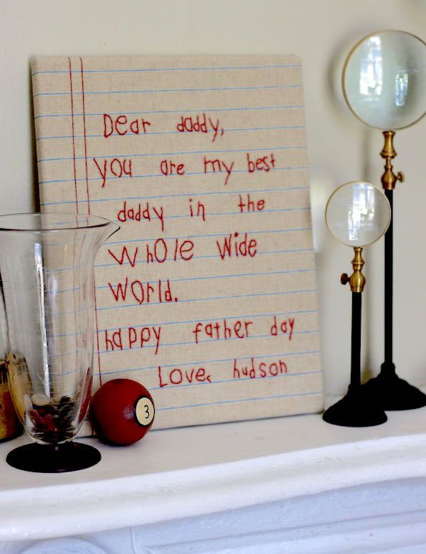 Handmade keepsake gifts from kids: Embroider a note from your child just as they wrote it