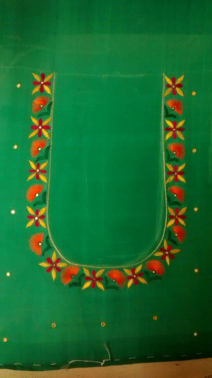 Aari work on blouse neck