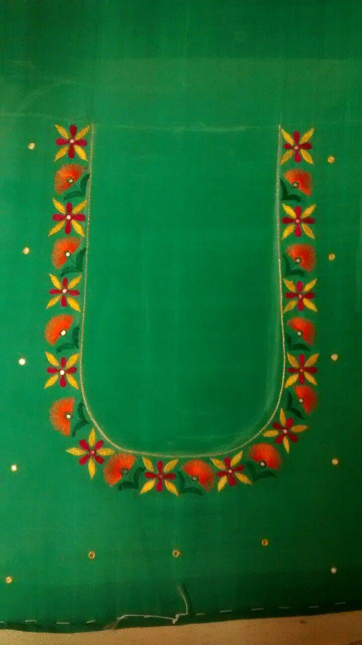 Aari work on blouse neck