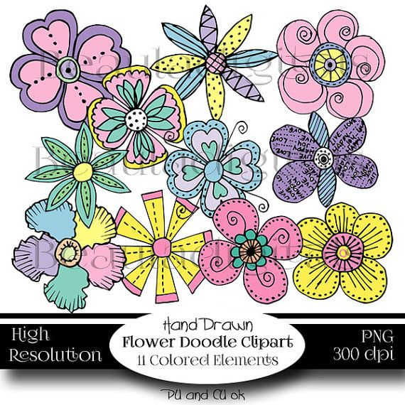 Borders Paper & Flowers Hand Drawn Doodle Clip by Beauladigitals