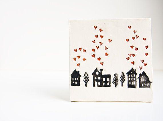 Home Sweet Home, baldosas de cerámica, tapiz para el nuevo hogar.  , regalo de inauguración minimalista moderno.  Invierno decoración del hogar por la cerámica karoArt