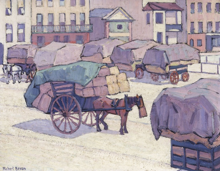 Robert Bevan. Hay Carts, Cumberland Market. 1915. (YCBA) Bevan had a studio with two rooms at 49 Cumberland Market ( http://en.wikipedia.org/wiki/Cumberland_Market   ) in 1915 and there formed the Cumberland Market group with Harold Gilman, Charles Ginner, Edward McKnight-Kauffer, C.R.W. Nevinson and John Nash. In this work Bevan uses a modern style to preserve a memory, the lingering presence in the city of the by then outdated horse transport. See…