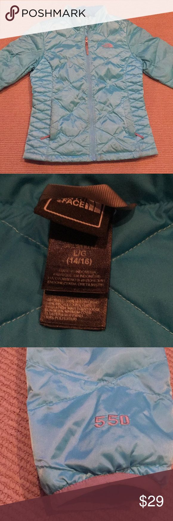 Girls North Face Aconcagua Jacket North Face size large (14/16) jacket. 550 down fill, zip up jacket. 2 zippered pockets. A few marks by bottom of jacket by the zipper as pictured. North Face Jackets & Coats Puffers