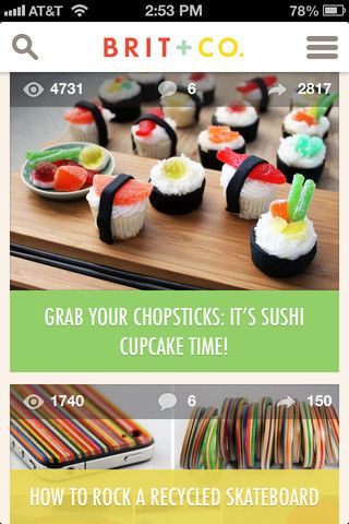 screenshot of Brit + Co. iOS application