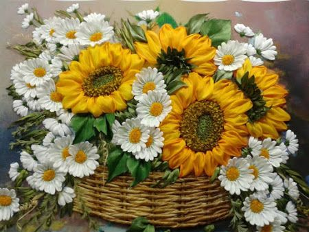 Sunflowers and daisies #ribbonEmbroidery