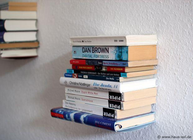 Schritt für Schritt zum schwebenden Bücherregal. Komplette Bauanleitung und Materialliste, um ein unsichtbares Bücherregal selber zu bauen.