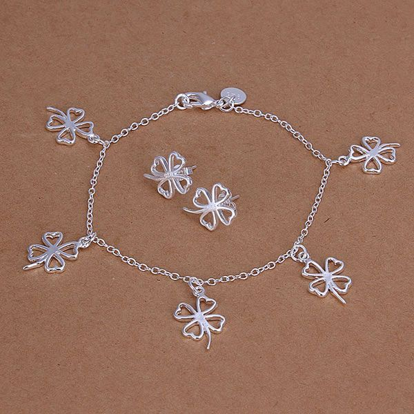 S148 925 Hot Selling silver jewelry set, fashion jewelry set Four-Leaved Clover Earrings Bracelet S148 /albajcia awtajoaa