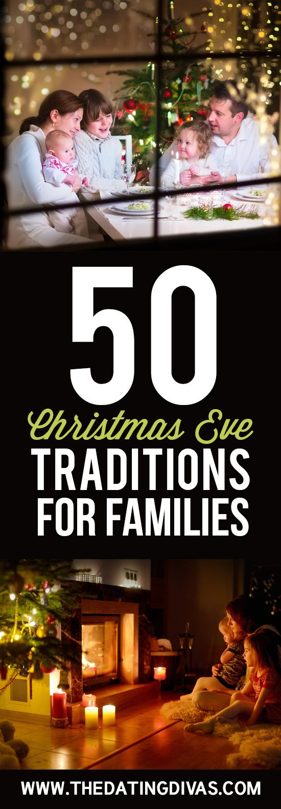 50 Christmas Eve tradition ideas for families. I totally want to try some of these with my family this year! Ideas include games, activities, service ideas and even ways to focus on Christ!
