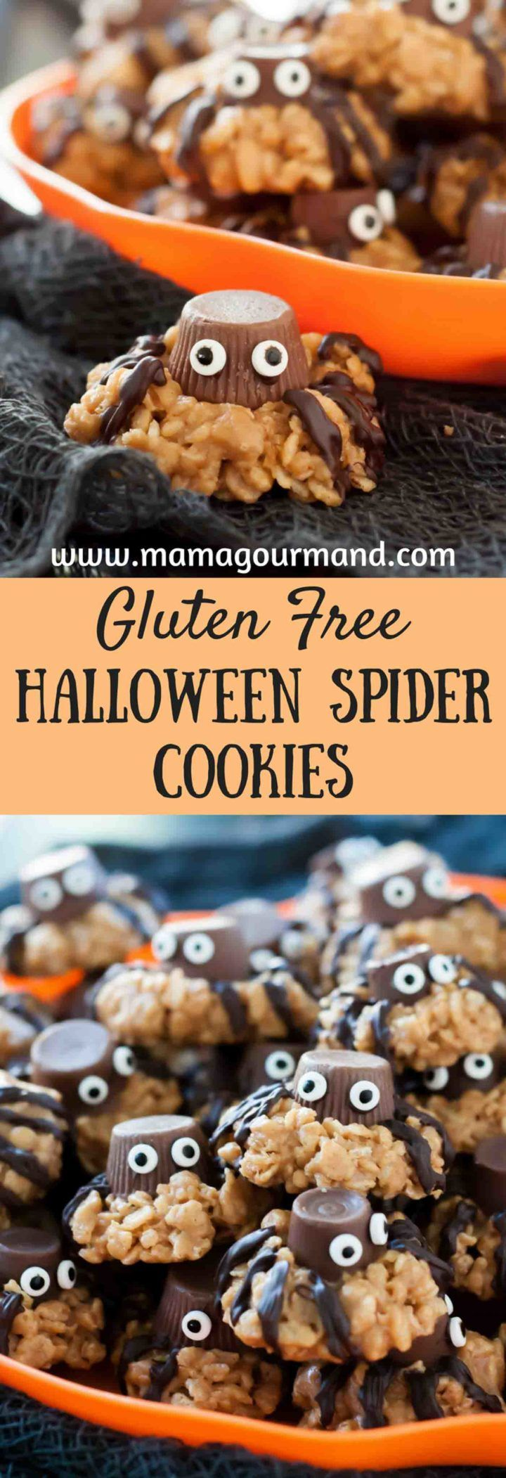 Gluten Free Halloween Spider Cookies are a deliciously chewy, peanut butter treat ALL your party guests will enjoy! http://www.mamagourmand.com