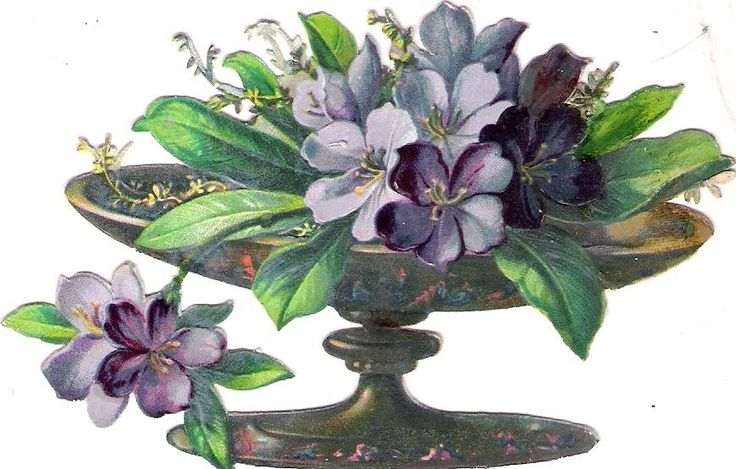 Oblaten Glanzbild scrap die cut chromo Blume flower fleur Schale Vase
