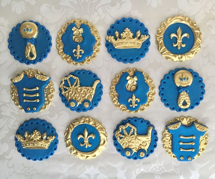 Prince Fondant Cupcake Toppers. Edible Baby Shower Toppers. Royal Theme  Baby Shower Cupcake Toppers . Royal Blue U0026 Gold Baby Shower Toppers