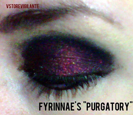 (*le bad cell phone pic) Fyrinnae's 'Purgatory' shadow applied over a mix of the shadow itself and their Pixie Epoxy. $5.90 for a full-size and $2 for a mini.