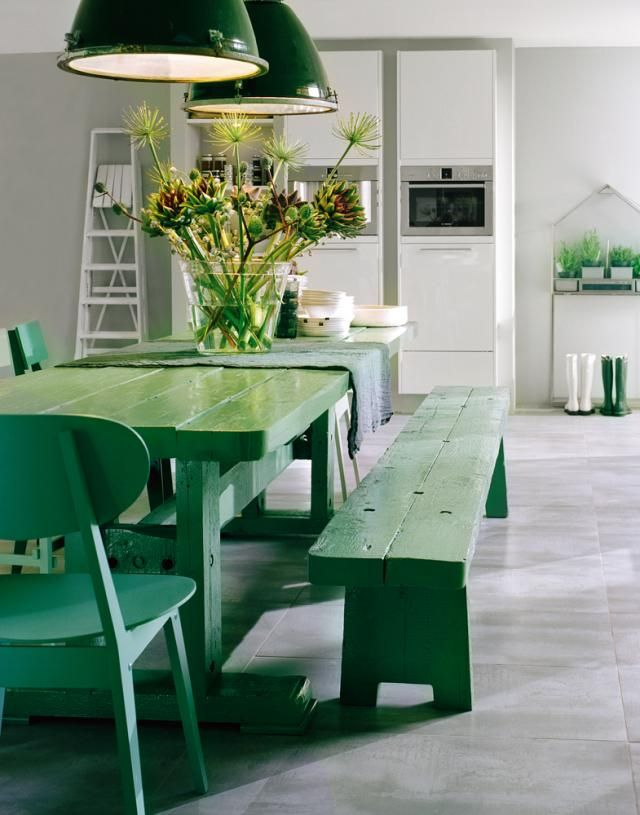 Green, green, green dining room via Remodelista: Dining Rooms, Benches, Emeralds Green, Color, Kitchens Tables, Green Tables, Green Kitchens, Picnics Tables, Dining Tables