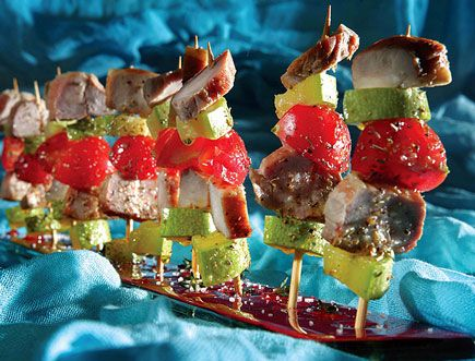 Mini Souvlaki of Smoked Cretan Pork, Cherry Tomatoes, Zucchini #Greek #recipe