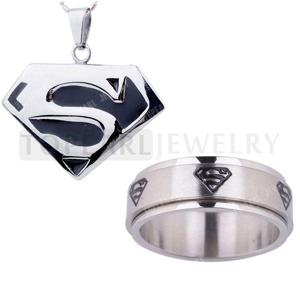 Topearl драгоценности лучший человек из стали супергерой ожерелье и супермен счетчик кольцо