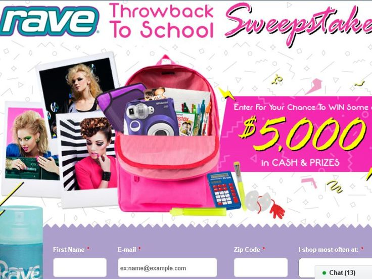 Enter The Rave Hairspray $5,000 Throwback to School Sweepstakes for a chance to win $2,500, and a Throwback to School Prize Package worth $275!