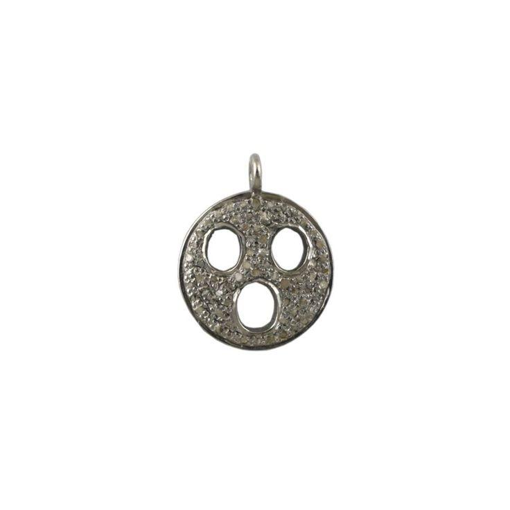 Pave Diamond Shocked Emoji Charm Pendant 925 Sterling Silver Finding Jewelry #Unbranded #SterlingSilverFindings