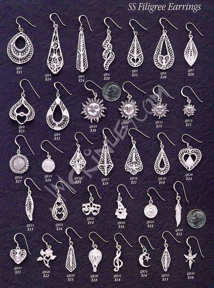 sterling silver ear wire earrings, french wire earrings, filigree, sun, comedy tragedy, masks, clown, moon, rose, fairy