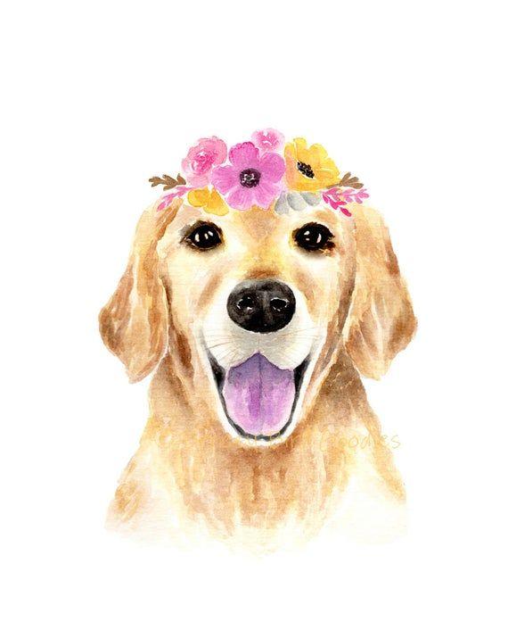 Golden Retriever Print With Pink Flower Crown Golden Retriever