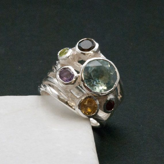 Big Multi Gemstone Statement Ring Glamorous Wide by SunSanJewelry