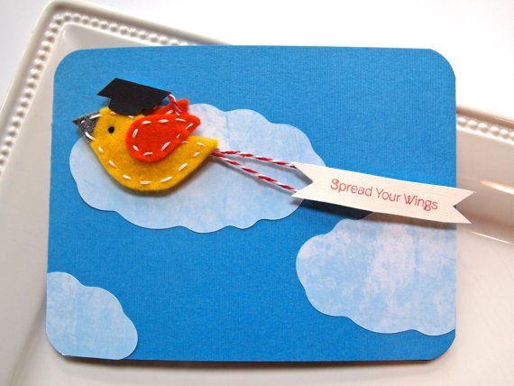 Spread Your Wings Graduation Card  Handmade by TwoSparrowsStudio, $5.00