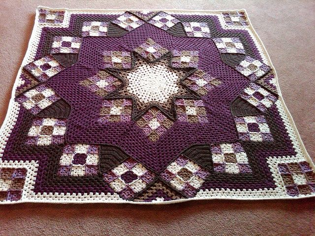 "Stained Glass Afghan Square | Blue Star"" Afghan. Pattern from Herrschner's Blue Ribbon Afghans."
