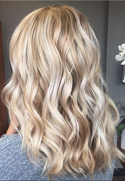 Butter blonde hues and gold toned shades. Color by Nickole Canestrale.