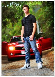 senior picture with a car