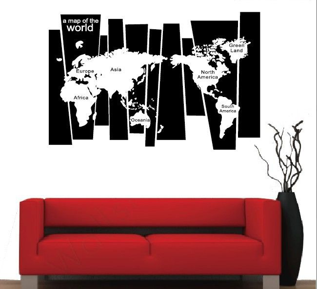 Handmade DIY Graphic vinyl quotes wall sticker of world map for bedroom decorative wall decal mural vinilo pegatinas de pared