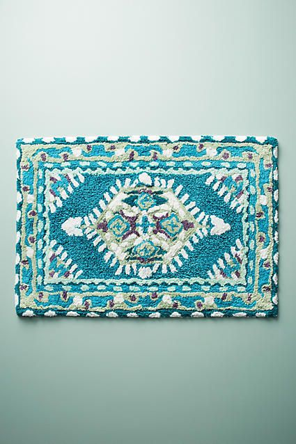 Anthropologie Meze Bath Mat in Blue Teal. Lovely home and bath decor for your floor. (commission) #teal #blue #bath #decor #home #homedecor #bathdecor #bathmat #anthropologie