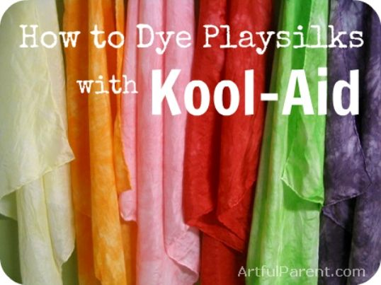 How to dye playsilks with Kool-AidCrafts Ideas, Koolaid, Kool Aid Dyes, Dyes Silk, Crafts Diy Tutorials, Silk Scarves, Art Parents, Diy Playsilks, Dyes Playsilks