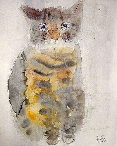 Shozo Ozaki watercolor cat