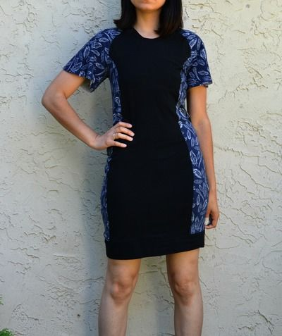 The Jeannette Dress Pattern features a semi fitted color block dress with flared raglan sleeves. The pattern includes sizes from 4 to 22, and it comes with a drafting tutorial so you can learn how to make the pieces of this dress a perfect fit.