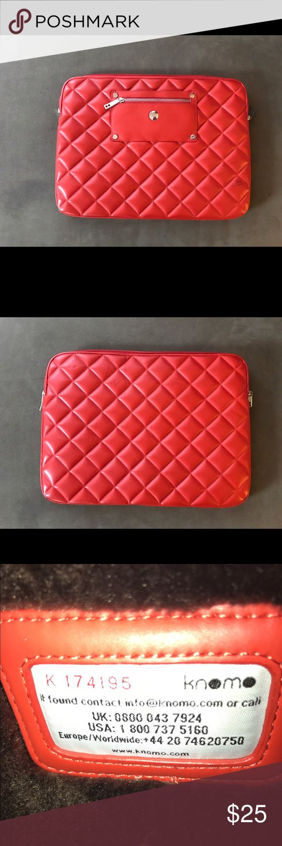 Authentic Knomo Fur Lined Laptop Sleeve Red fur lined laptop sleeve Knomo Bags Laptop Bags