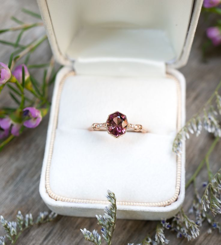 Pink Tourmaline is pure magic in this open-work Rose Gold ring.