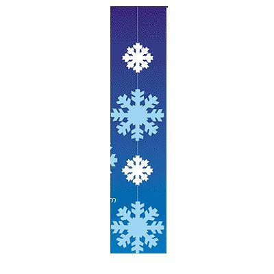 Etalage hangdecoratie witte sneeuwvlokken  Decoratie hanger met sneeuwvlokken. Materiaal: papier. Formaat: 120 x 25 cm. Kleur: blauw met wit. Brandvertragend.  EUR 9.95  Meer informatie